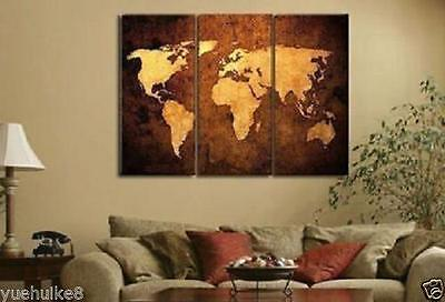3pc World Map Modern Hand Painted Wall DECOR Oil Painting on Canvas(no framed)