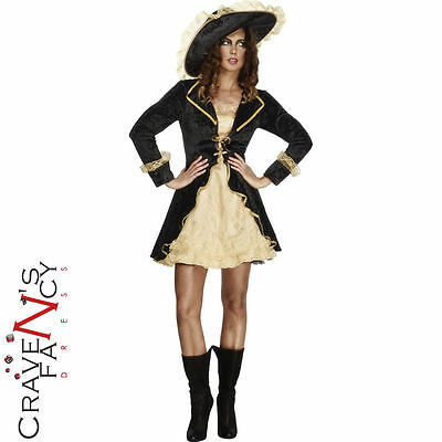 Ladies Black Swashbuckler Pirate Sexy Adult Womens Fancy Dress Costume 8 -16 New