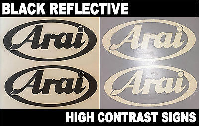 2x Arai Black Reflective SAFETY Motorcycle Helmet Sticker Decal riding