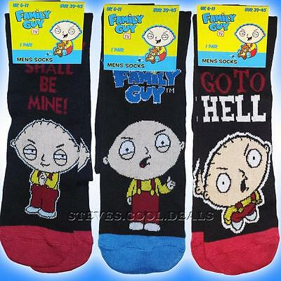 Fun Family Guy Mens Black Socks Featuring Stewie Griffin as seen on tv NEW