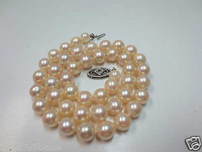 "Vintage 15.5"" Cultured Pearl Necklace w/ 14k W. Gold Diamond Chip Clasp Avg. 8mm"