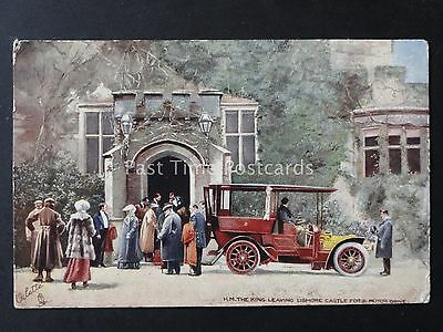 Ireland H.M THE KING LEAVING LISMORE CASTLE FOR A MOTOR DRIVE c1905 R. Tuck 9017