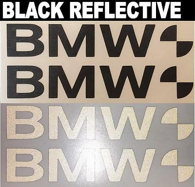 2x BMW Black Reflective SAFETY Motorcycle Helmet Stickers Hi Viz riding graphic