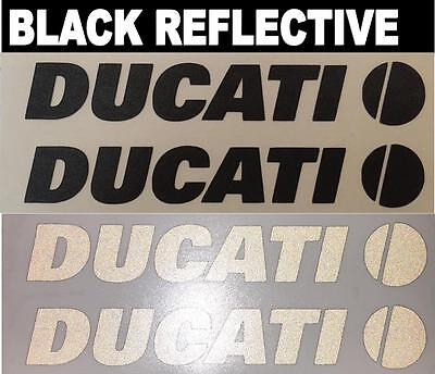 2x DUCATI Black Reflective SAFETY Motorcycle Helmet Sticker HiViz riding