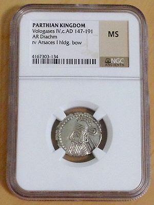 Parthian Kingdom VOLOGASES IV c AD 147-191 Silver Dr.NGC MS value: $200