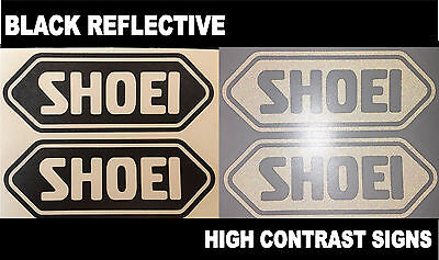 2x Shoei Black Reflective SAFETY Motorcycle Helmet Sticker HiViz riding graphic