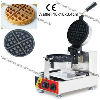 Commercial Nonstick 110v 220v Electric Rotating Round Standard Waffle Maker Iron