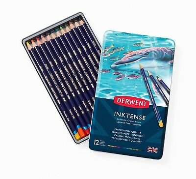Derwent Inktense 12 Tin Set of Assorted Artists Colour Water-Soluble Ink Pencils