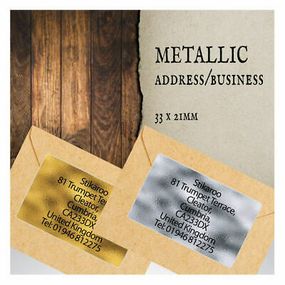 260 Personalised GOLD SILVER Metallic Printed Sticky Address Labels Stickers