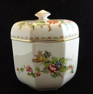 Hand Painted Crown Staffordshire Pagoda Octagonal Covered Biscut Jar Rare
