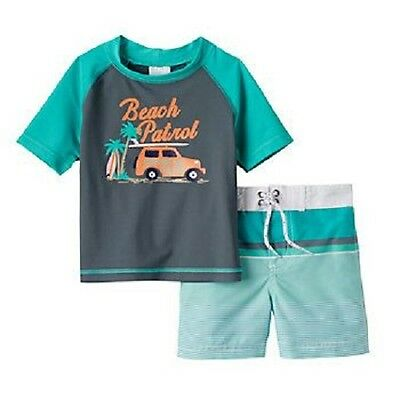 Carter's Beach Patrol Green Swimsuit & Rashguard Top Infant Baby Boy 12 Months