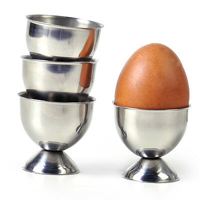 Hot 4x Soft Stainless Steel Boiled Egg Cups Holder Tabletop Cup Kitchen Tool Set