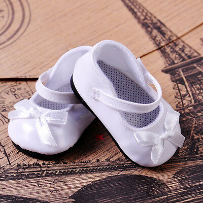 """Fit 18"""" American Girl Doll Shoes White Patent Leather Mary Jane Shoes with Bow"""