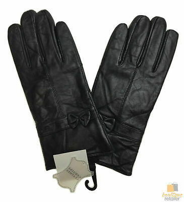 DENTS Womens Patch Genuine Leather Gloves with Bow LL1041 New Premium Quality