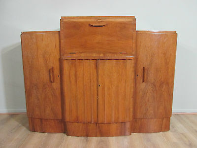 Original Antique 1920's Burr Walnut Coctail Cabinet