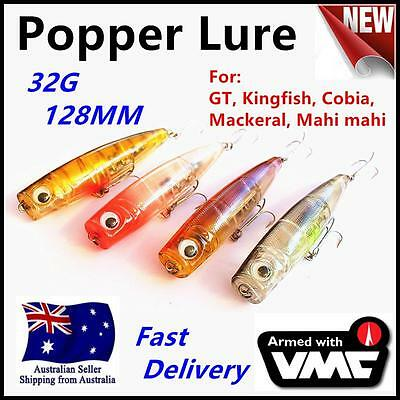 4 X GT Popper 128mm 32g Top Water Surface Fishing Lures Stick Bait Tuna King 514