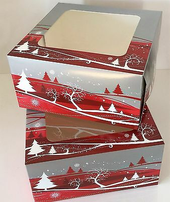 """pack of 2 CHRISTMAS CAKE BOXES 8 x 8 x 4 """" inch FESTIVE Square with clear Window"""