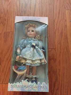 NEW CLASSIC FAVORITES COLLECTION GENUINE PORCELAIN DOLL Victorian Girl w/basket