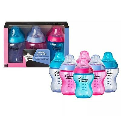 6xTommee Tippee Closer to Nature Colour My World 260ml Decorated Feeding Bottles