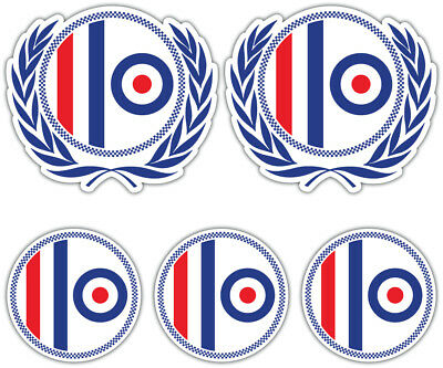 SCOOTER MOD ROUNDEL Laminated Sticker Set vespa Retro Decal 1