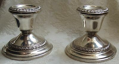 """Vintage Pair of Crown Sterling Silver Weighted Candlesticks Holders, 2 3/4"""" Tall"""