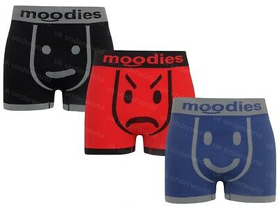 3 Pairs Moodies Mens Seamless Boxer Shorts Trunks Briefs Adults Underwear