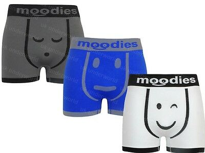 3 Pairs Moodies Mens Seamless Boxer Shorts Trunks Adults Briefs Underwear