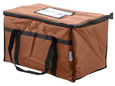 Insulated Nylon Food Delivery Bag Pan Hot Cold Carrier Restaurant Brown New