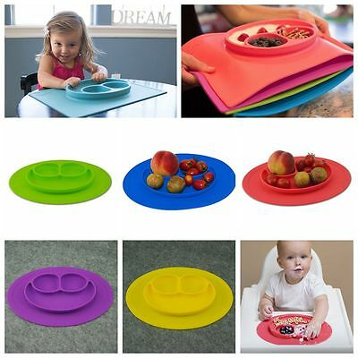 Happy Baby Food Divided Plates Child Kids Portable Safe Placemat Silicone Bowl