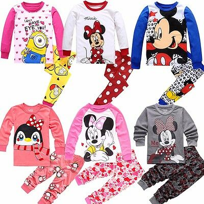Minnie Mickey Mouse Minions Kids Toddler Baby Girls Pajama Pjs Set Clothes 2T-7T