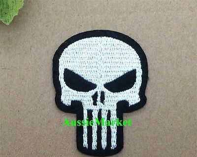 1 x patch skull skeleton iron on sew on jacket biker badge mens shirt hat cap