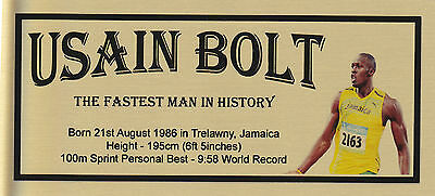 Usain Bolt Olympics  Sublimated Gold Metal Plaque For Framing