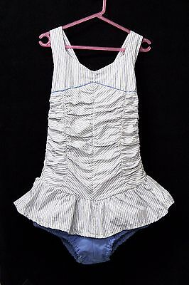 Childs Girls 1950s Vintage Swimmers Togs Swimsuit Blue Shirred Cotton Sz 8 50s