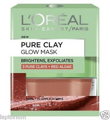 L'oreal Paris Pure Clay Glow Mask 50ml, 3 PURE CLAYS + RED ALGAE