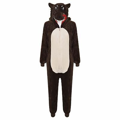 Kids Girls Boys A2Z Onesie One Piece Soft Fluffy Wolf Halloween Costume 7-14 Yrs