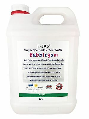 Screenwash with Rain Repellent Scented BUBBLEGUM Readymix 5L by F-JAS