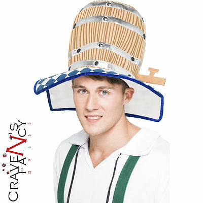 Oktoberfest Beer Barrel Hat Bavarian Fancy Dress Stag Party Costume Accessory