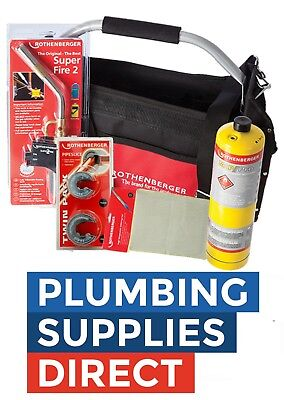 * Rothenberger Plumbers Tool Bag Superfire 2 Torch, Mapp, Solder Mat, Cutters