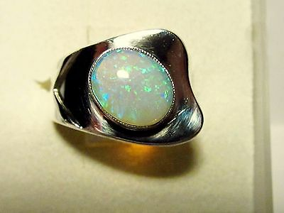 Art Deco Silver Ring, Size 8, Coober Pedy Crystal Opal, 1.3 ct -see video!