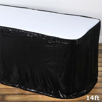 14 ft Black SEQUIN TABLE SKIRT Wedding Party Catering Trade Show Banquet