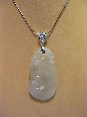 "Grade A white jade carved ""RuYi"" pendant/necklace ( with 925 silver chain)"