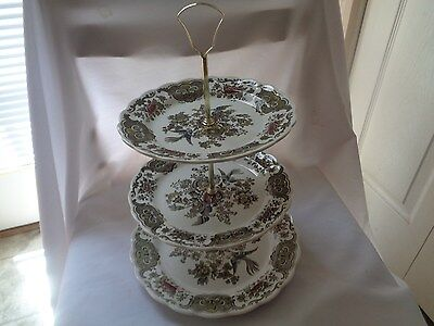 Vintage Made In England Ridgway 3-Tiered Tidbit/Sandwich Tray
