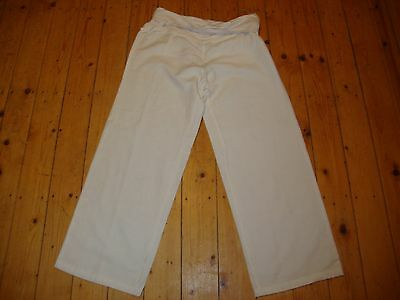 BNWT MATERNITY White Linen Blend Roll Top Trousers Size 8