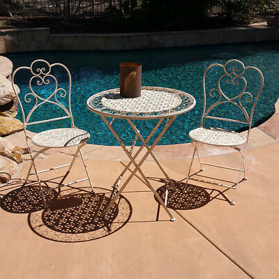 New! 3 Piece Marseille Antiqued Heavy Iron Folding Bistro Set -2 Chairs + Table