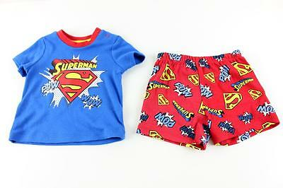 Baby Boy Superman Summer Pyjamas Set Red & Blue Size 000 New