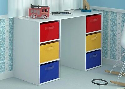 Kids Desk Toy Storage 6 Canvas Drawers for Children's Bedroom Playroom