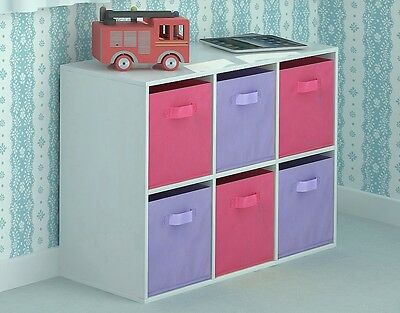 Toy Storage Unit Kids Chest of 6 Canvas Drawers Children's Bedroom Pink Purple