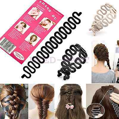 UK French Hair Braiding Tool Roller With Hook Magic Twist Styling Bun Maker Kit