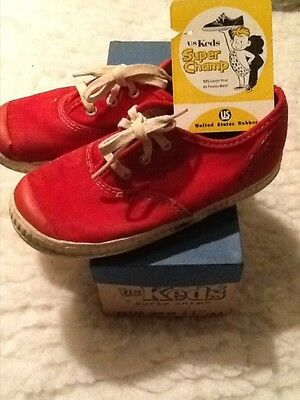 Vintage Keds Super Champ children's sneakers with original tag and box red
