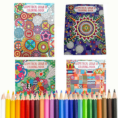GEOMETRIC Coloring Books LOT of 4, for Young & Adults + BONUS COLORED PENCILS
